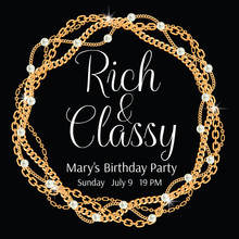 Party Invitation Template. Round Frame Made With Twisted Golden Chains. With Pearls. On Black. Vector Illustration