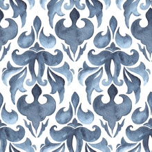 Indigo Blue Damask Seamless Watercolor Pattern With Repeat Floral Motifs On White Background