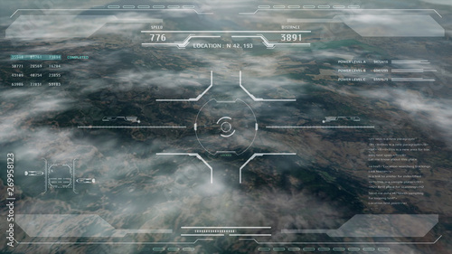 Fotografie, Tablou  Aerial view HUD digital futuristic surveillance monitor screen display