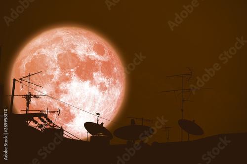 Keuken foto achterwand Diepbruine full buck moon planet back silhouette Satellite dishes on roof