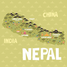 Illustrated Map Of Nepal With Cities And Landmarks. Editable Vector Illustration