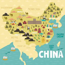 Illustrated Map Of China With ...
