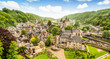 canvas print picture - Panoramic landscape of Durbuy, Belgium. Smallest city in the world.