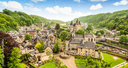 Foto op Plexiglas Oude gebouw Panoramic landscape of Durbuy, Belgium. Smallest city in the world.