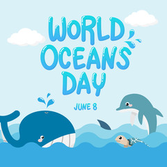 Fototapeta Delfin whale , dolphin , shark and turtle in the ocean with text World Oceans Day. vector of marine life for celebration dedicated to help protect, and conserve world oceans, water, ecosystem