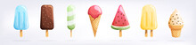 Ice Cream Set Isolated On A Wh...