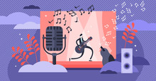 Singing Vector Illustration. Flat Tiny Musical Performance Persons Concept.