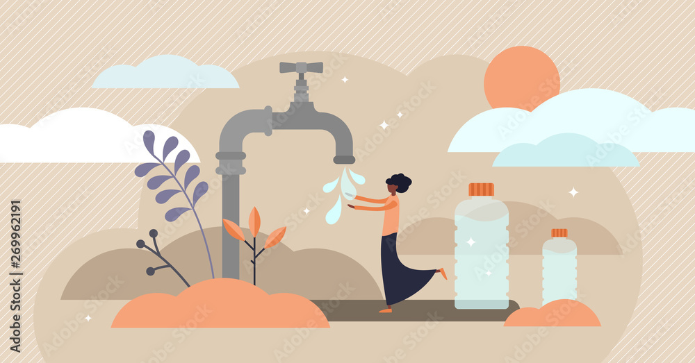 Fotografía Drinking water vector illustration
