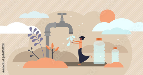 Cuadros en Lienzo  Drinking water vector illustration