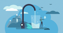 Clean Water Vector Illustration. Tiny Drinking Fresh Potable Person Concept
