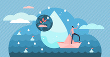 Clean Water Vector Illustration. Flat Tiny Natural And Pure Persons Concept