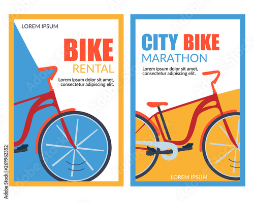 Bycicle Rental City Bike Marathon Vector Banner Fototapete