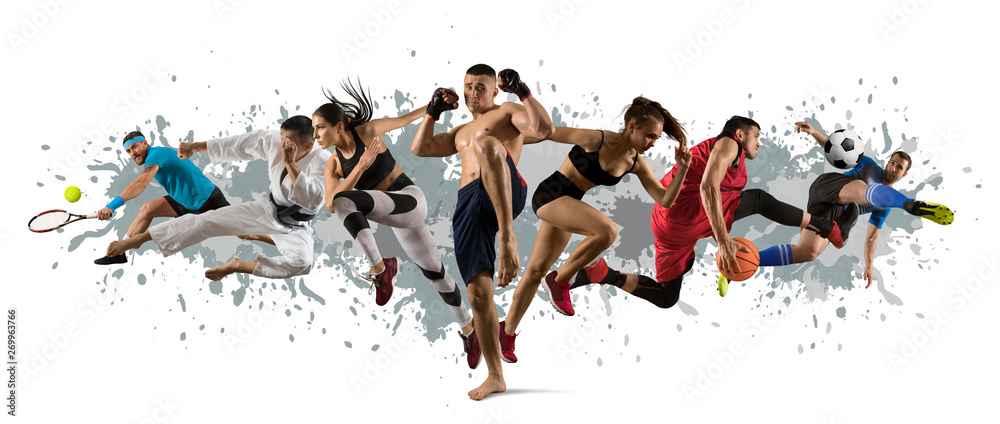 Fototapety, obrazy: Sport collage. Tennis, soccer, karate, MMA fighter and basketball players