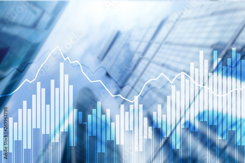 Fotografía  Double exposure Financial graphs and diagrams