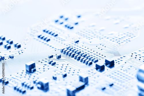 Electronic circuit board close up. - 269965580