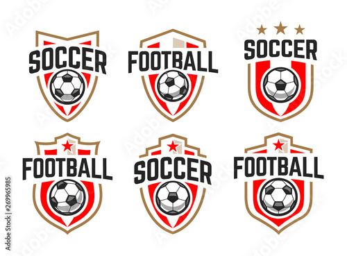 Photo  Soccer Classic Vector Emblems Set