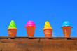 Leinwandbild Motiv ice cream cone on background of blue sky