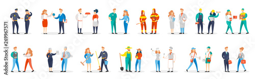 Fotografia  Occupation set. Collection of people couple in various uniform