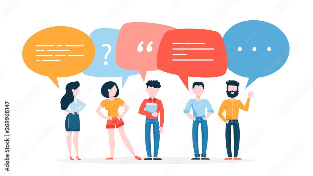 Fototapeta People talk using speech bubble. Group of business people