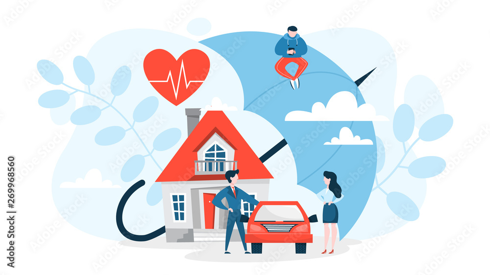 Fototapety, obrazy: Property insurance concept. House and car standing