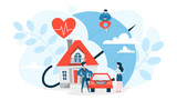 Property insurance concept. House and car standing - 269968560