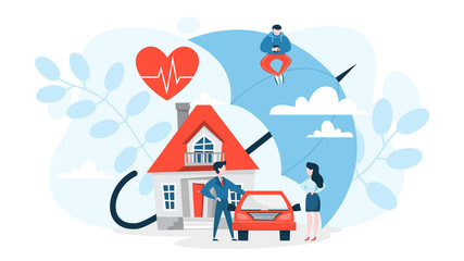 Property insurance concept. House and car standing