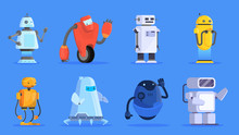 Robots Set. Group Of Futuristic Character Of Various Shape