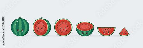 Watermelon set drawn cute kawaii food faces Wallpaper Mural