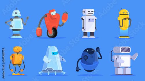 Photo  Robots set. Group of futuristic character of various shape