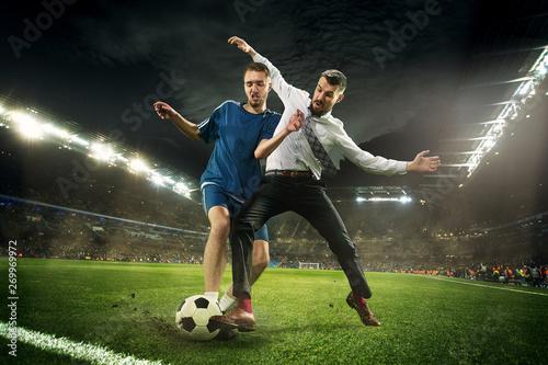Carta da parati Office man as a soccer or football player at the stadium