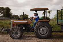 Senior Male Farmer Driving Tractor In Farm