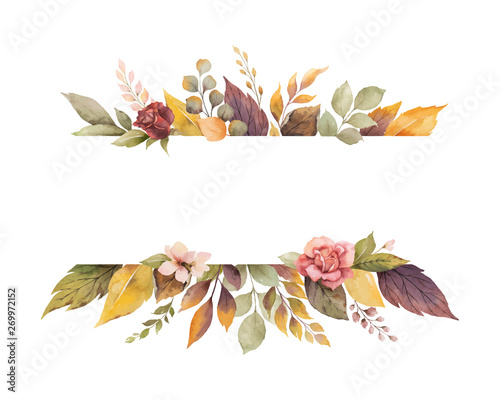 Fototapeta Watercolor vector autumn banner with roses and leaves isolated on white background. obraz