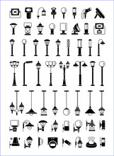 Outdoor, Patio & Landscape Lighting. Еxterior Light Fixtures. Devices For Illumination Of Porch, Walkway, Path, Garden, Yard, Park. Lanterns, Pendants And Lamps. Vector Flat Icons Set