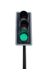 Green Traffic Light On White Background