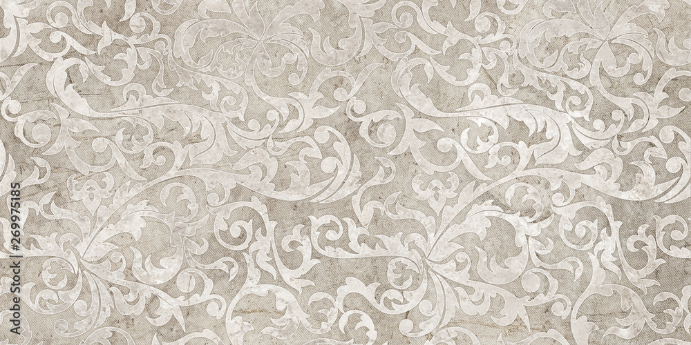 Fototapety, obrazy: vintage background with floral damask pattern