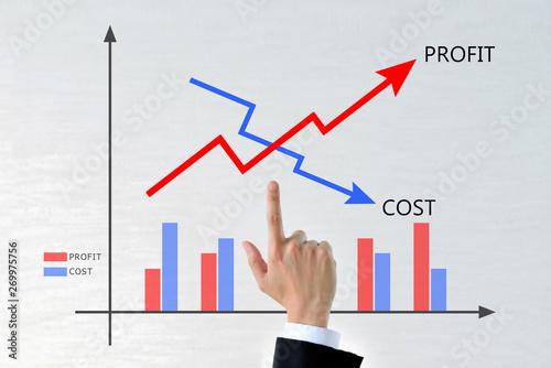 Obraz コストと利益のグラフ - fototapety do salonu