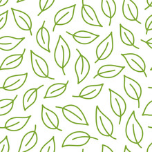Leaf Background. Green, White Seamless Pattern With Leaves In Minimal Line Doodle Style. Decorative Repeat Package Backdrop