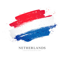 Flag Of The Netherlands. Vector Illustration On White Background.