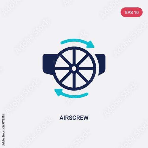 Photo two color airscrew vector icon from astronomy concept