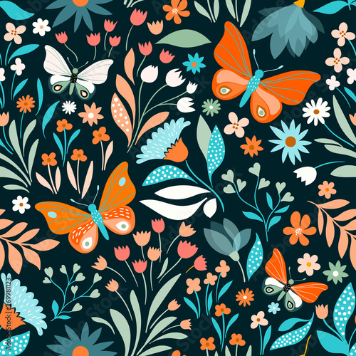Fotografie, Obraz Floral seamless pattern