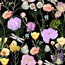 Hand Drawn Botanical Seamless Pattern Of Garden Wildflowers,plants