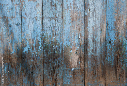 very old wooden background with blue cracked paint, parallel boards Tapéta, Fotótapéta