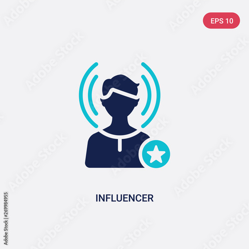 Photo two color influencer vector icon from blogger and influencer concept