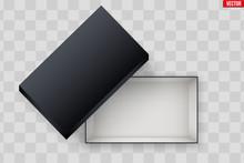 Blank Of Open Black Shoe Box