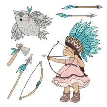 POCAHONTAS OWL American Native Red Skinned Indian Princess Vector Illustration Set For Print Fabric And Decoration