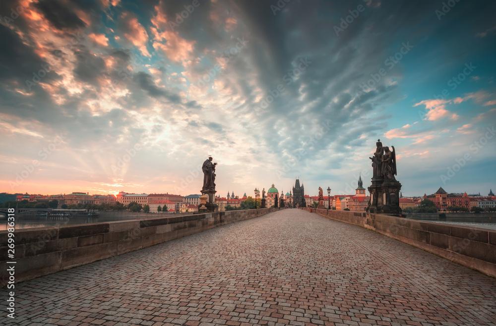 Fototapety, obrazy: Charles Bridge in Prague at sunrise