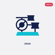 Two Color Drum Vector Icon From Brazilia Concept. Isolated Blue Drum Vector Sign Symbol Can Be Use For Web, Mobile And Logo. Eps 10