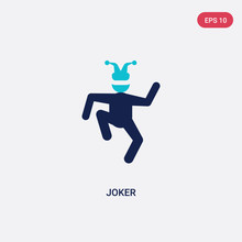 Two Color Joker Vector Icon From Brazilia Concept. Isolated Blue Joker Vector Sign Symbol Can Be Use For Web, Mobile And Logo. Eps 10