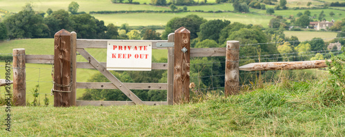 Private Keep Out sign, Gloucestershire, England Wallpaper Mural