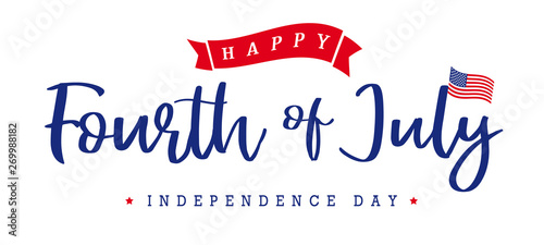 United States of America Fourth of July, Independence Day vintage logo badge Illustration. Calligraphic 4th of July vector typography for banner or poster design